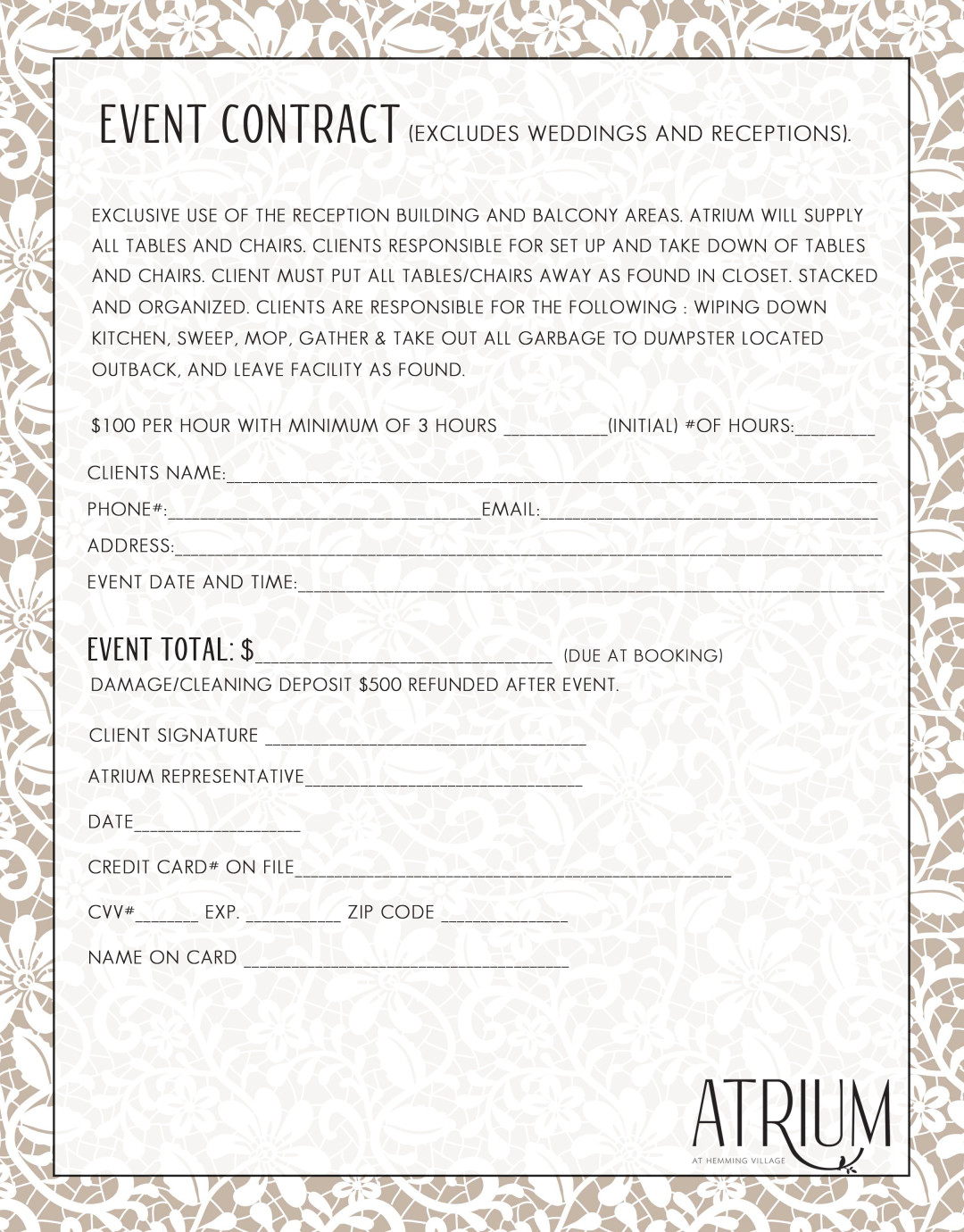 event contract - The Atrium at Hemming Village - Wedding and Event ...